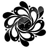 FANDE Senza Telaio Orologio da Parete, DIY Orologio da Parete, Specchio in Acrilico 3D, Adesivi da Parete a Forma di Schizzi con Superficie a Specchio, per Casa, Ufficio, Hotel (Nero)