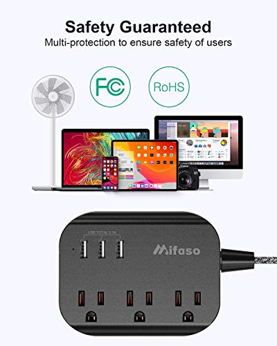 Power Strip with USB, Mountable Flat Plug Power Strip with 3 Outlets 3 USB Ports(Smart 3.1A), 5ft Braided Extension Cord, Compact for Cruise Ship, Travel, Home, Office 3