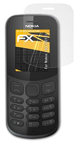 atFolix Panzerfolie kompatibel mit Nokia 130 (2017) Schutzfolie, entspiegelnde & stoßdämpfende FX Folie (3X)