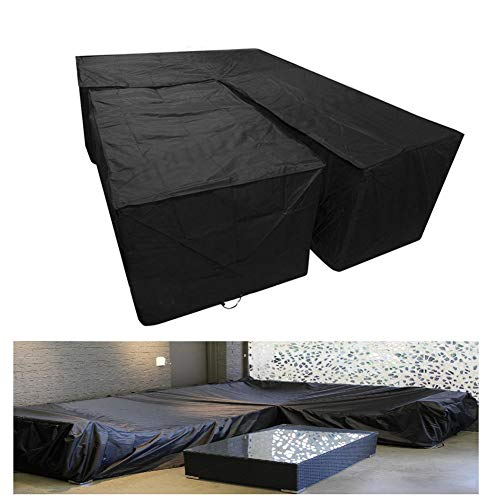 L Shaped Sofa Cover 2Pcs Set Waterproof Dust/Windproof Heavy Duty Rattan Patio Covers for Outdoor Table And Chairs, 4Sizes (Color : BLACK, Size : 300X300X80CM+155X95X68CM)