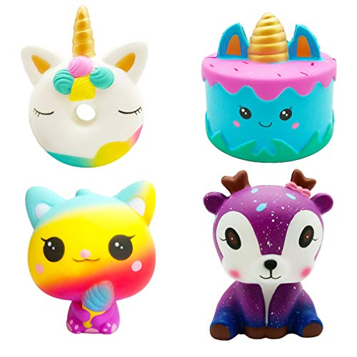 Viccent 4 Pcs Kawaii Jumbo Squishys Toy Slow Rising Unicorn Donut,Narwhale Cake,Ice Cream Cat,Galaxy Deer Scent Squishies Pack Kids Stress Relief Toys