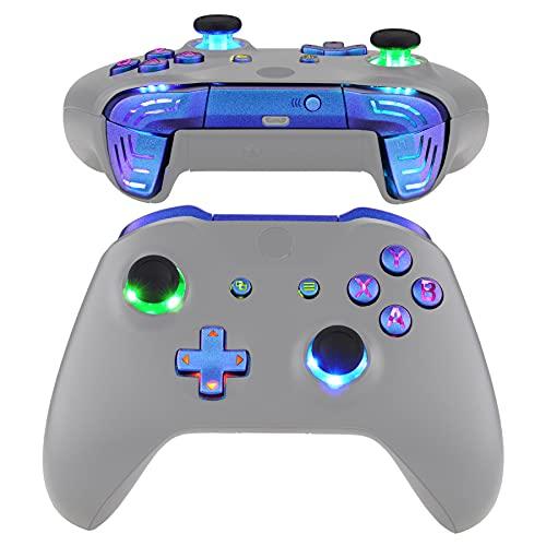 eXtremeRate Multicolori Tasti Luminosi DTFS LED Kit per Xbox One S X Controller Joystick Model 1708 D-pad Levette Analogiche Bumper Trigger Pulsante ABXY(NON Include Controller)-Camaleonte Viola Blu