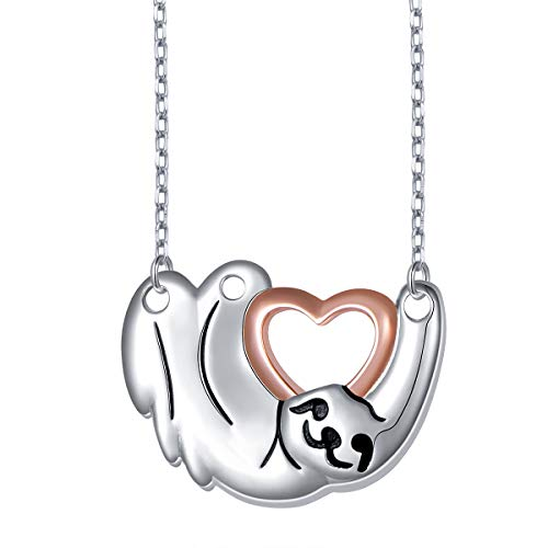 925 Sterling Silver Cute Animal Holding Heart Sloth Pendant Necklace
