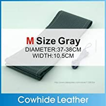 leather steering - High Quality Genuine Cowhide Leather Steering Car Wheel Cover Racing Steering Wheel 5 Color SIZE S/M/L Perforated breathable (Gray M)