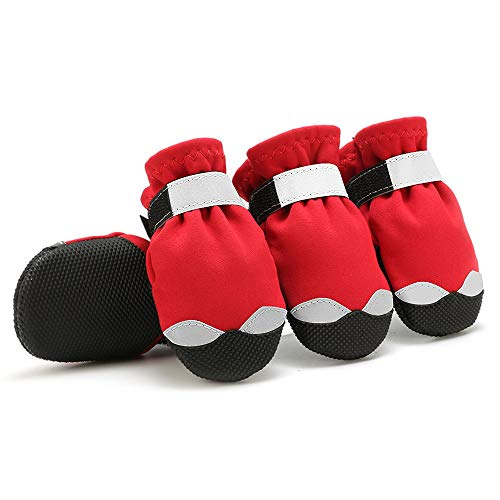 URBEST Dog Shoes, Waterproof Rugged Pet Dog Boots, Rain Boots for Outdoor Indoor Shoes Non Slip Black Rubber Sole Reflective Strap Breathable Paw Protectors (3#, Red)