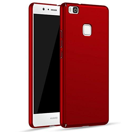 Cover Huawei P9 Lite, UCMDA [Ultra Slim] [Hard Silky] [Scrub Shell] [Piena Protezione] Rigida Custodia Cover per Huawei P9 Lite Smartphone 5.2 Pollici - Rosso