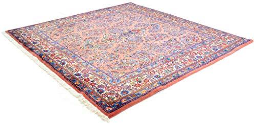 Cristina Carpets Orientalischer Teppich SARUK 215x213 handgeknotet Original Wolle Webart Baumwolle Rosa Blumen