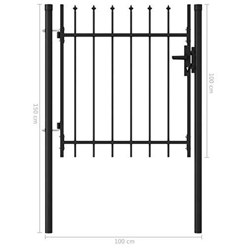 YVX Puerta de Valla Puerta Simple con Tapa de púas Barrera de jardín de Acero Protector de privacidad 1x1 m Negro