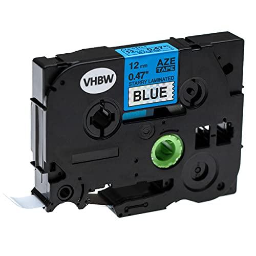 vhbw Casete cinta de escritura compatible con Brother P-Touch 1010, 1010NB, 1010NB Name Badge Kit impresora etiquetas 12 mm Negro a Azul (brillo)