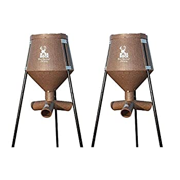 Boss Buck 200 Pound Capacity Gravity Fed Tripod Corn and Protein Pellet Feeder with 3 Way Adjustable Flow Control for Wildlife Game and Deer  2 Pack