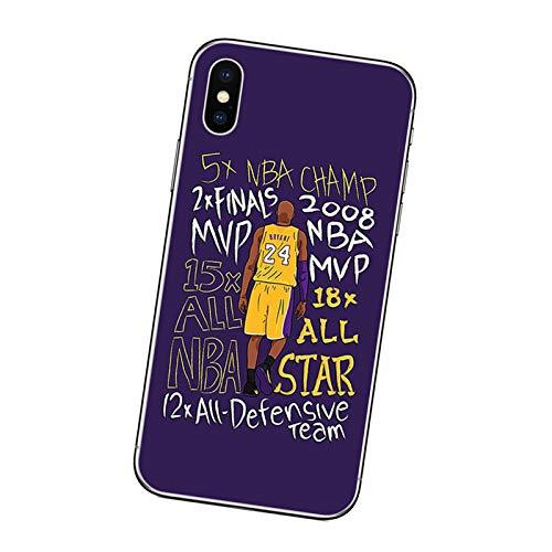 Kobe Funda para iPhone X/XS, XR, XS Max, Lakers 24# Negro Mamba Funda protectora para teléfono móvil, anti-caída, ultrafina, suave, para niños, hombres, adolescentes, B-X/XS