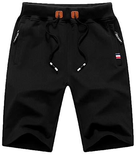 QPNGRP Mens Shorts Casual Drawstring Zipper Pockets Elastic Waist Black 32