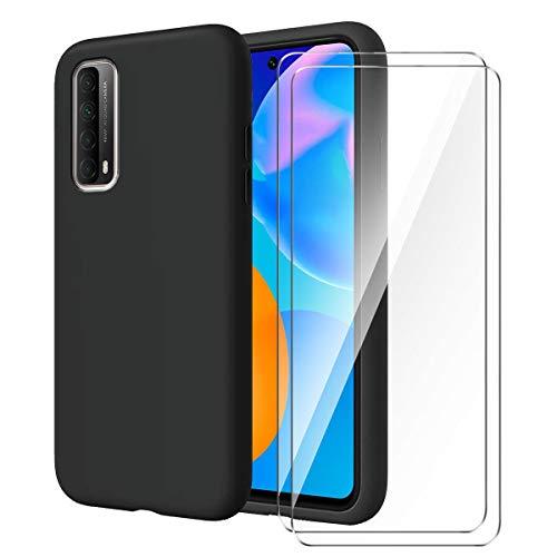 """LYZXMY Cover per Huawei P Smart 2021 + [2 Pezzi] Pellicola Protettiva in Vetro Temperato - Nero Morbido Silicone Custodia Protettivo TPU Case per Huawei P Smart 2021 (6.67"""")"""