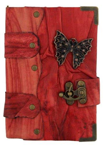 Mariposa Colgante en Diario de cuero Rojo / Diario / Bloquear / Rojo Estilo Vintage / Notebook /...
