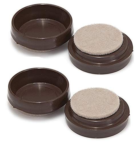 Merriway BH00150 Castor Caster Cups with Felt Pad, Outer Dimension 68 mm (2.5/8 inch) - Large, Brown, Pack of 8