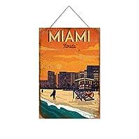 マイアミ、フロリダ木製のリストプラーク木の看板ぶら下げ木製絵画パーソナライズされた広告ヴィンテージウォールサイン装飾ポスターアートサイン