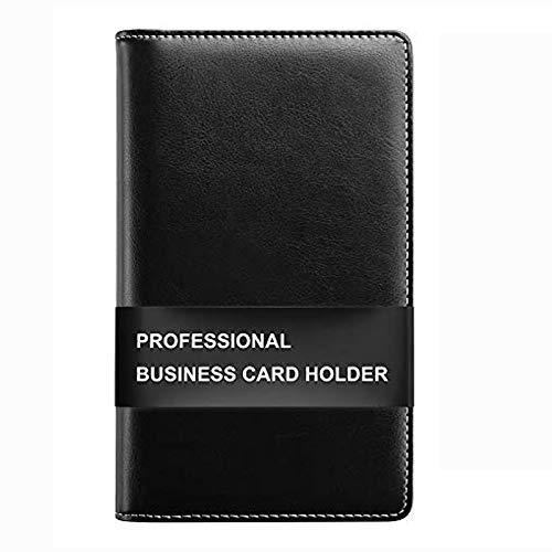 Sooez Leather Business Card Book Holder, Professional Business Cards Book Organizer PU Name Card Credit Cards Book Holder Booklet (Black)
