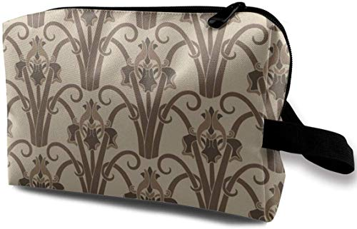Art Nouveau Irises - Sepia Toned_661 Toiletry Bag Cosmetic Bag Portable Makeup Pouch Travel Hanging...