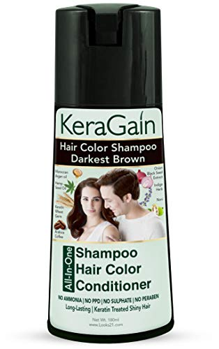 Looks21 Kera Gain Hair Colour Shampoo (Darkest Brown, 180ml) - Do-It-Yourself Grey Hair Color No Ammonia No PPD No Parabens No Sulfates with Keratin Treatment Argan oil Onion oil Cruelty-Free