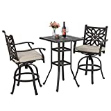 PHI VILLA 3 PC Patio Bar Set, 2 Outdoor Swivel Bar Stools with 3.5' Thicken Padded Cushion & 1 Square 42' Height Bar Table with 1.96' Umbrella Hole, All Cast Aluminum Furniture Bistro Table Chairs Set
