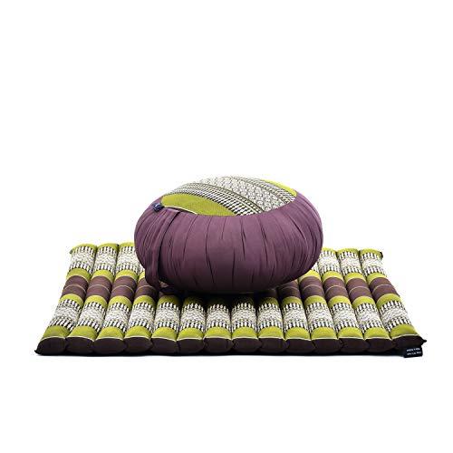 Leewadee Set de meditación – Cojín de Yoga Zafu y colchoneta de meditación Zabuton, Asiento tailandés de kapok Hecho a Mano, Set de 2, marrón Verde