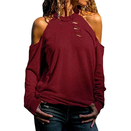 BOLANQ Damen Pullover top Shirt, Hosen Strickkleid anzüge Hosenanzug Lederjacke Damenmode mütze socken Weste Jeans Bekleidung (Medium,Wein)