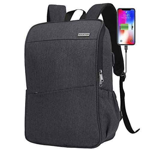 Laptop Backpack for Women Men College Bookbag Business Travel Backpack Water Resistant Computer Backpack with USB Charging Port Fits 15.6 Inch Laptop