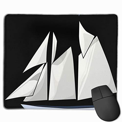 Yacht Clipart Altes Boot Rechteckiges rutschfestes Gaming-Mauspad Tastatur Gummi-Mauspad für Heim- und Büro-Laptops