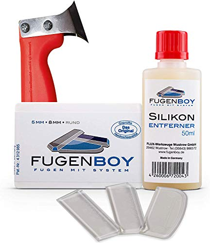 Fugenboy Heimwerker-Kit für Silikon-Fugen - Silikon Fugenwerkzeug Made in Germany | Enthält 50ml Silikon-Entferner, Silikonfugen Abzieher und Fugenmesser | Patentrechtlich geschütztes Werkzeug