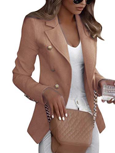 Shallood Damen Elegant Langarm Blazer Sakko Einfarbig Slim Fit Revers Geschäft Büro Jacke Kurz Mantel Anzüge Bolero Mit Knopfleiste Military Coat Blazer (42, A Khaki)