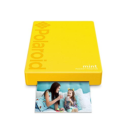 Polaroid Mint Pocket Printer W/ Zink Zero Ink Technology & Built-In Bluetooth for Android & iOS Devices - Yellow