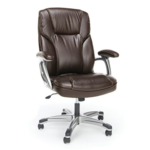 Essentials High-Back Leather Executive Office/Computer Chair with Arms - Ergonomic Swivel Chair (ESS-6030-BRN)