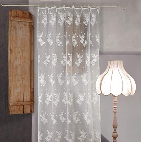 AT17 Tenda Pizzo di Poliestere Shabby Chic 140 x 290 Poly-Sunset Collection Colore Bianco