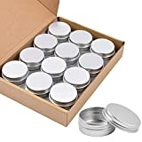 Aluminum Tin Cans, 24PCS 1/2 Oz Metal Round Tins Containers Screw Lid Small Empty Storage Travel Tin Jars for Candles, Salve, Cosmetics, Spices