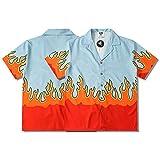 Camisa de Flores Hawaianas de High Street para niños, cárdigan de Playa con Estampado Completo de Llamas Rojas, Manga Corta