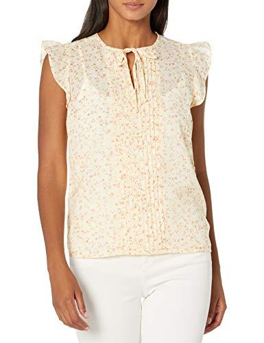 Lucky Brand Women's Flutter Sleeve V Neck Sandra Top, Yellow Multi, L