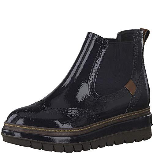 Tamaris Damen Stiefeletten, Frauen Chelsea Boots, leger Stiefel halbstiefel Bootie Schlupfstiefel flach weiblich Lady,Pacific PATENT,39 EU / 5.5 UK