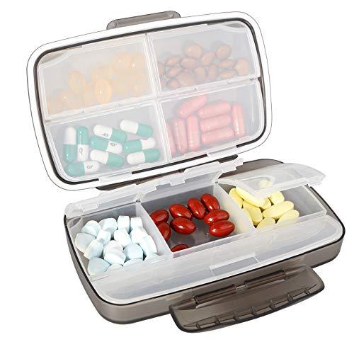 Tablettenbox 8 Fächer, Baoweihua Kleine Pillendose für Reisen im Freien, Medikamenten box Feuchtigkeitsbeständigen Bauart-Schwarz