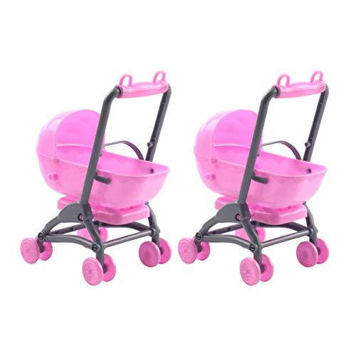 STOBOK 2 stücke Miniatur Kinderwagen Spielzeug Kunststoff puppenhaus Kindergarten möbel Kinderwagen Spielzeug DIY puppenhaus zubehör