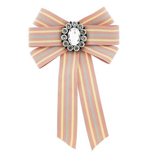 Sweet Deluxe Brosche Schleife, Rose/Crystal I ausgefallene Blusenbrosche für Damen & Mädchen I Frauen-Brosche für Abendkleid & Bluse I Anstecknadel