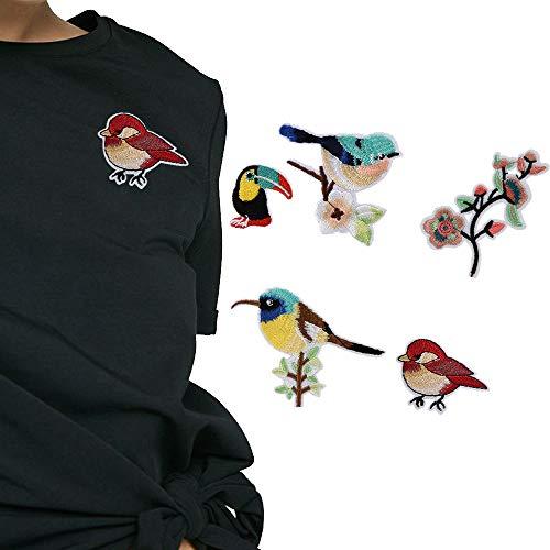 Applique 5 Pcs Oiseaux Et Fleurs Broderie Badge Vêtements Tissu Patch Applique Décor DIY Maison DIY