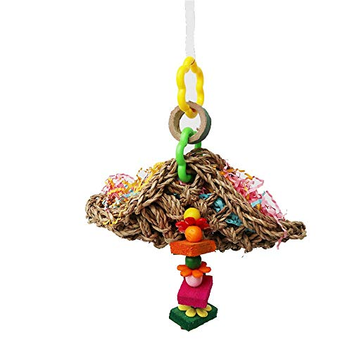 Qiming Dauerhaft Durable Parrot Supplies Vogel Spielzeug Stroh Biss Papier Brushed Holz Biss Spielzeug Swing (2ST) Umweltgesundheit (Color : Multi-Colored, Size : Free Size)
