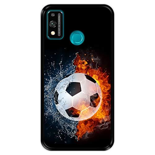 Funda Negra para [ Honor 9X Lite ] diseño [ Fuego y Agua, balón de Futbol ] Carcasa Silicona Flexible TPU