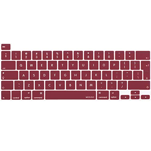 MOSISO Keyboard Cover Compatible with 2020 MacBook Pro 13 inch A2338 M1 A2289 A2251 & 2019 MacBook Pro 16 inch A2141 with Touch ID & Retina Display, Protective Silicone Skin, Wine Red