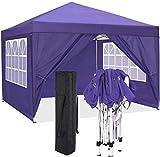 COBIZI Pavillon 3 x 3 WASSERDICHT, Pavillon inkl. Tasche wasserabweisend höhenverstellbar faltbar Pop-up Gartenzelt Partyzelt (3 x 3 m + 4 Seitenteilen + Tasche, lila)