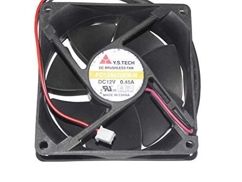 zyvpee Ventilador de servidor FD128025EB-N de 8 cm, 12 V, 80 mm, 0,45 A, 2 cables, ventilador de refrigeración