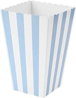 VAINECHAY 12PCS Cajas de palomitas Carton Maiz Caja Papel Pequena Dulces Papas Fritas Fiesta Cumpleanos para Ninos Caja Regalo Comida Bocadillos Titulares Contenedor Onda Dorada Azul