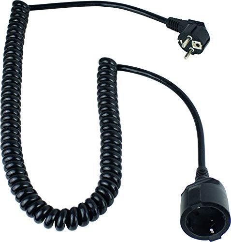 as - Schwabe 70425 Schutzkontakt-Spiralkabel, schwarz, 230 V