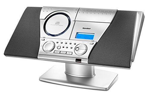 Karcher MC 6550N Kompaktanlage (mit CD Player und Kassettendeck, vertikale Stereoanlage, UKW Radio, Wecker) silber
