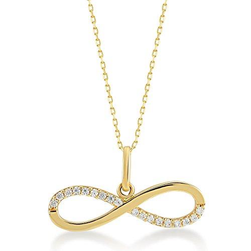 Dames gouden ketting met hanger 14 karaat - 585 geelgoud Oneindigheid Forever Love versierd met zirkonia strass-steentjes, kettinglengte 45 cm